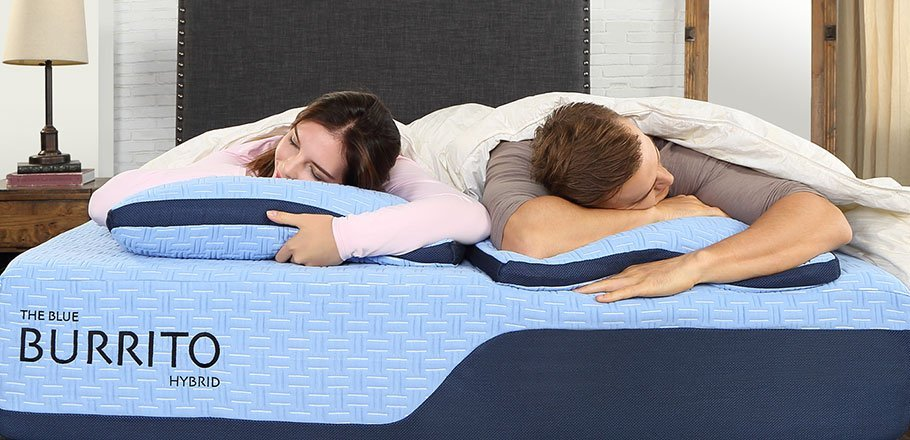 couple sleeping on a Blue Burrito mattress