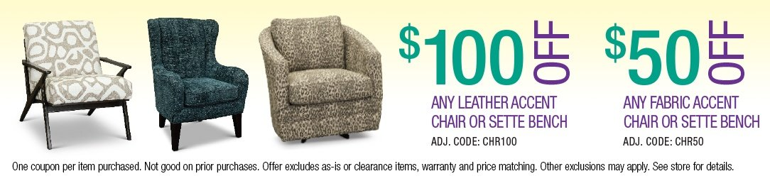 Save up to $100 on Accent Chairs