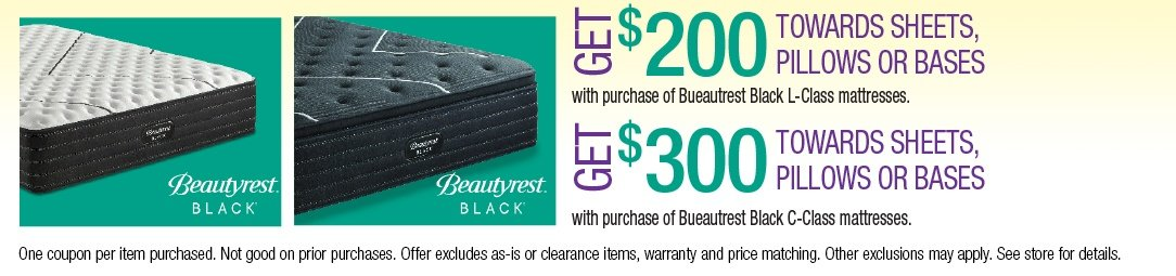 Get up to $300 towards Sheets, Pillows or Bases with purchase of a Beautyrest Black Mattress