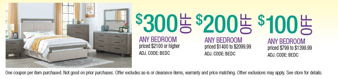 Save up to $300 on Bedroom Sets