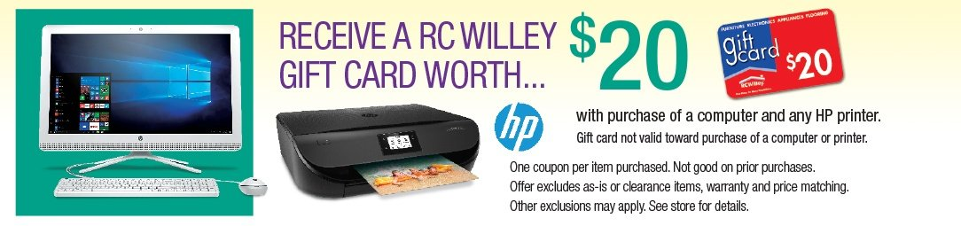 Get a $20 Gift Card with purchase of a computer and any HP Printer