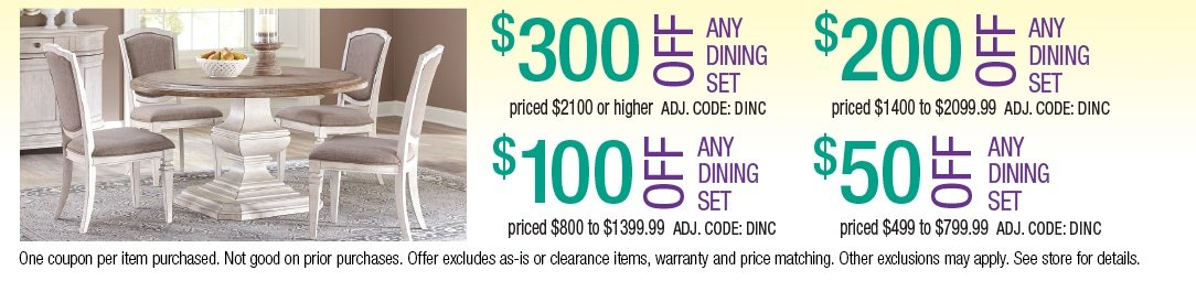 Save up to $300 on Dining Sets
