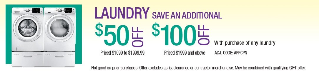 Save up to an additional $100 on Laundry