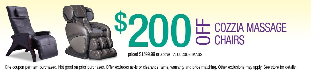Save up to $200 on Cozzia Massage Chairs