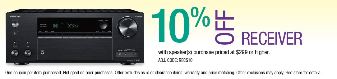 Save 10% off a Receiver with Speaker purchase priced at $299 or higher