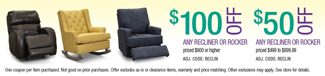 Save up to $100 on Recliners and Rockers