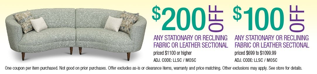 Save up to $200 on Stationary or Reclining Sectionals