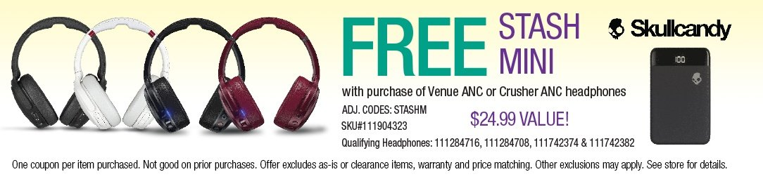 Free Stash Mini with purchase of select Skullcandy Headphones