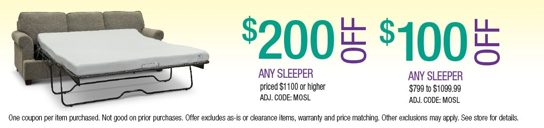 Save up to $200 on Sleeper Sofas