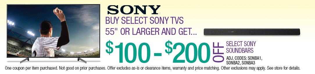 Save up to $200 on Select Sony Sound Bars