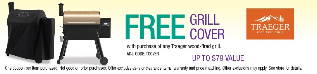 Free Grill Cover with purchase of a Traeger wood-fired grill