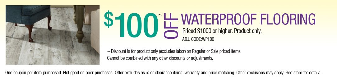 Save up to $100 off Waterproof Flooring