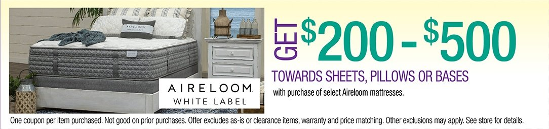 Get up to $500 Towards Sheets, Pillows, or Bases with purchase of select Aireloom mattresses