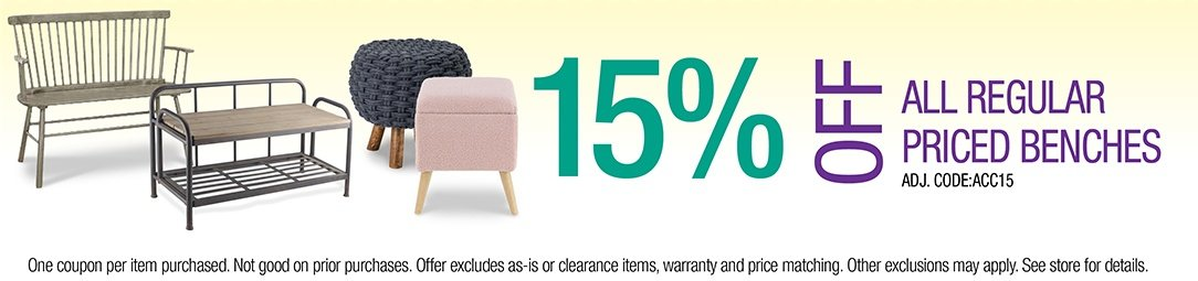 Get 15% off all regular priced Benches