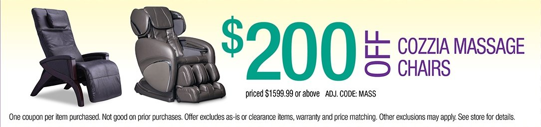 $200 off Cozzia Massage Chairs