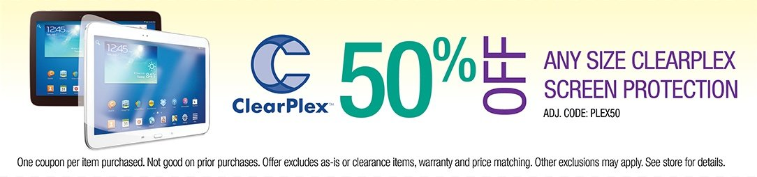 Get 15% off any sized Clearplex Screen Protection