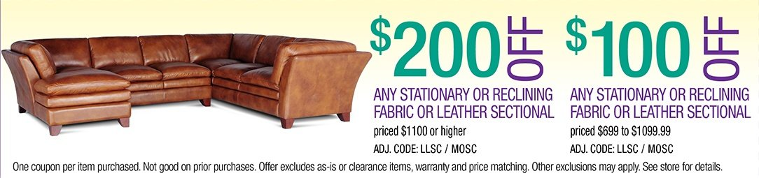 Save up to $200 on any Stationary or Reclining Fabric or Leather Sectional