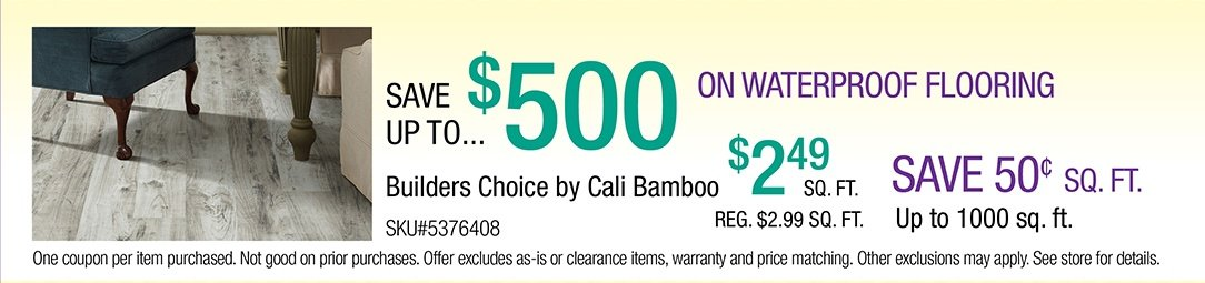 Save up to $500 on Waterproof Flooring