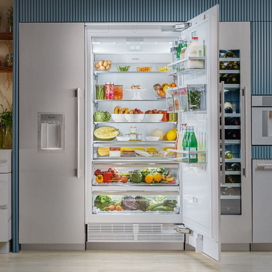 fully stocked Thermador refrigerator