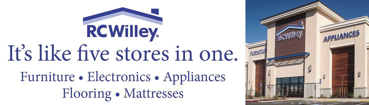 RC Willey has everything for your home, from furniture, electronics, appliances, mattresses and flooring. It's like 5 stores in one!