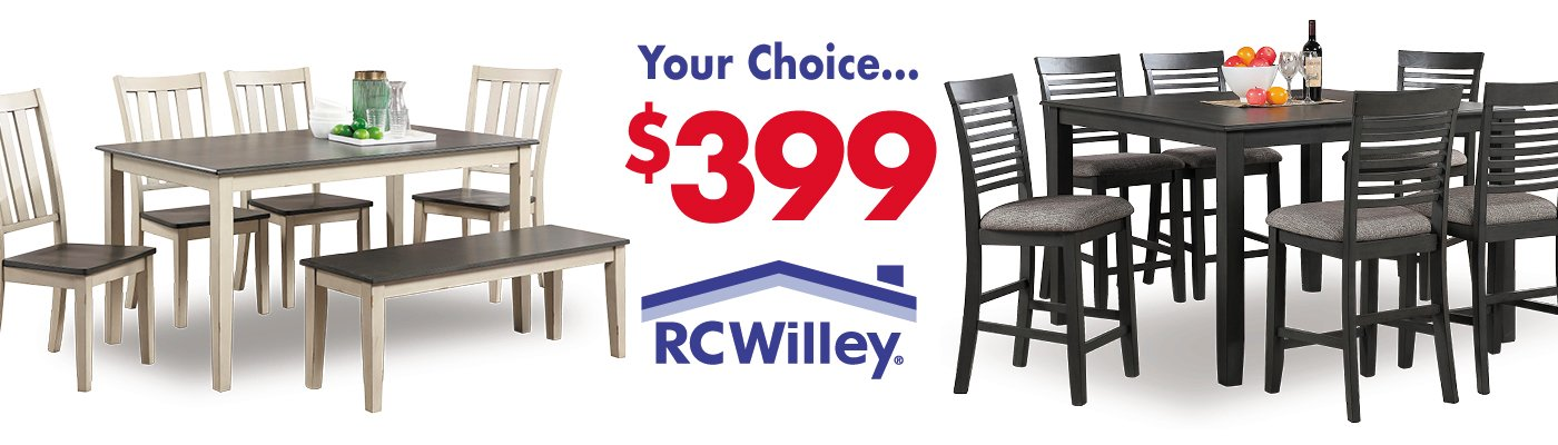 Get one of these dining room sets for $399 in the Furniture Store at RC Willey
