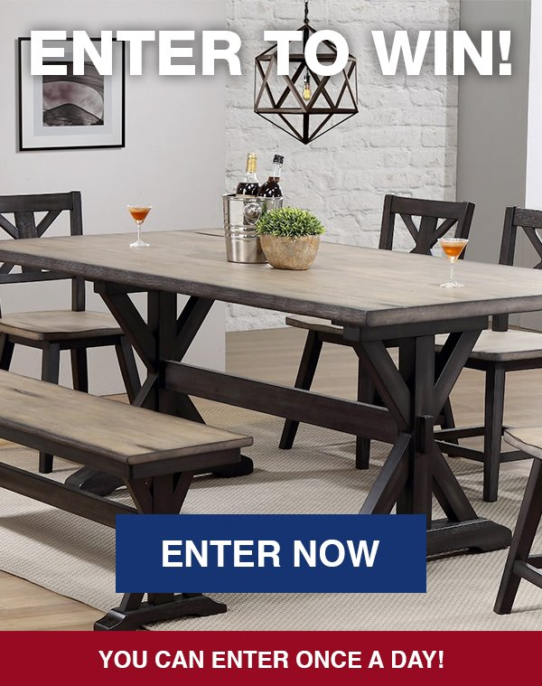 Enter to win a Farmhouse Sand and Black 6 Piece Dining Set with Bench!