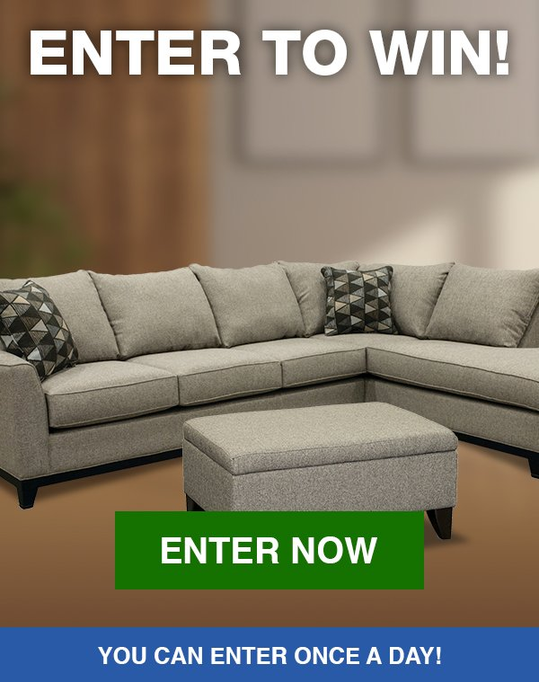 Enter to win an Emerson Contemporary Sectional Sofa with Chaise and an Emerson Contemporary Storage Ottoman!