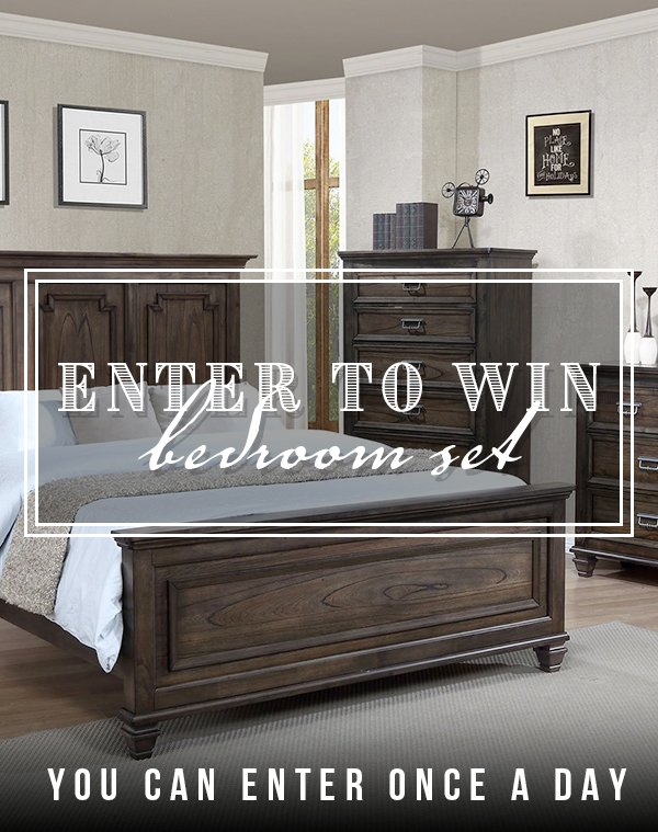 Enter to win a Campbell Traditional 4 Piece King Bedroom Set and a Beautyrest Hybrid Medium King Mattress in our September 2020 Giveaway!