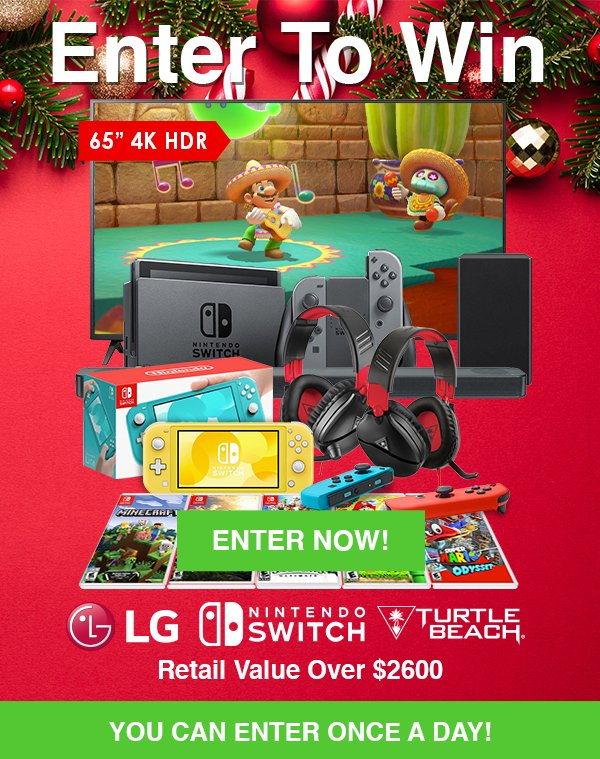 Enter To Win a Switch Up The Holidays Entertainment Package from RC Willey in our December 2019 Giveaway
