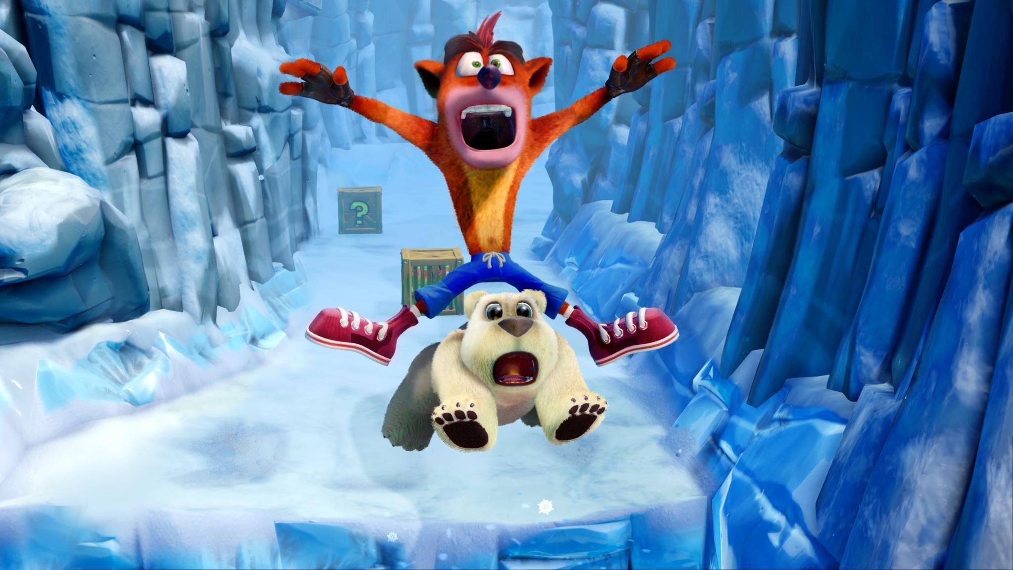 Crash Bandicoot 2 for Xbox One riding a polar bear