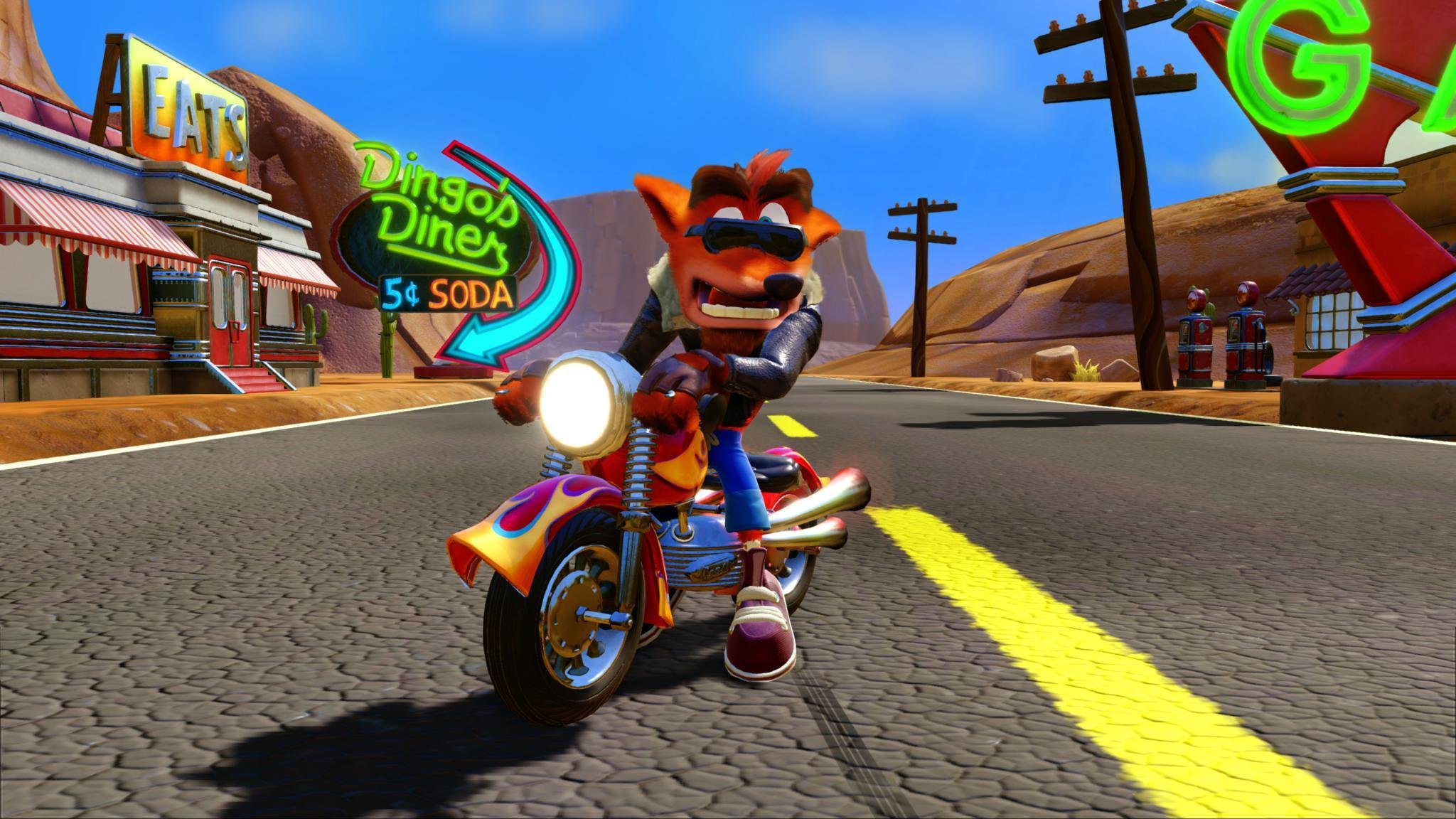 Crash Bandicoot 3 for Xbox One riding a motorcycle