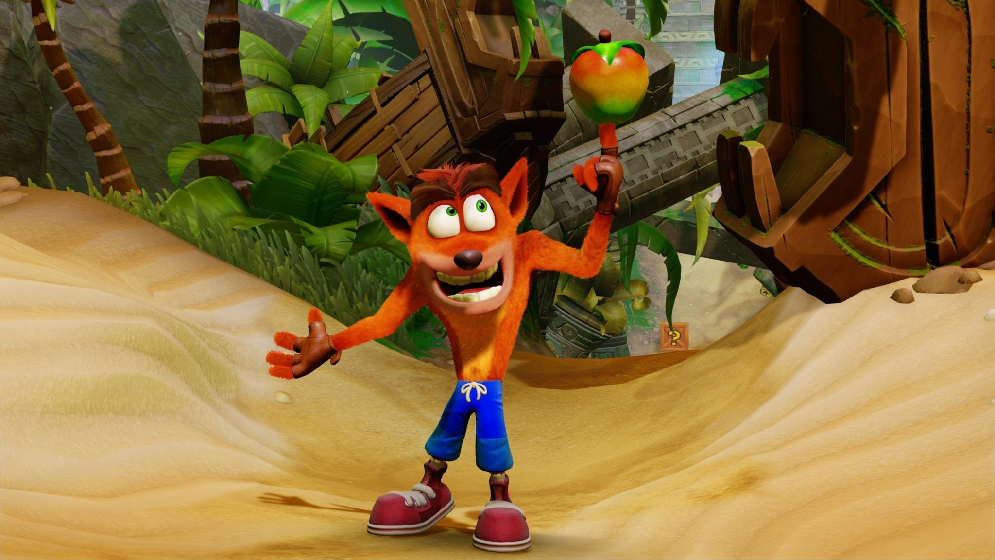Crash Bandicoot for Xbox One holding an apple