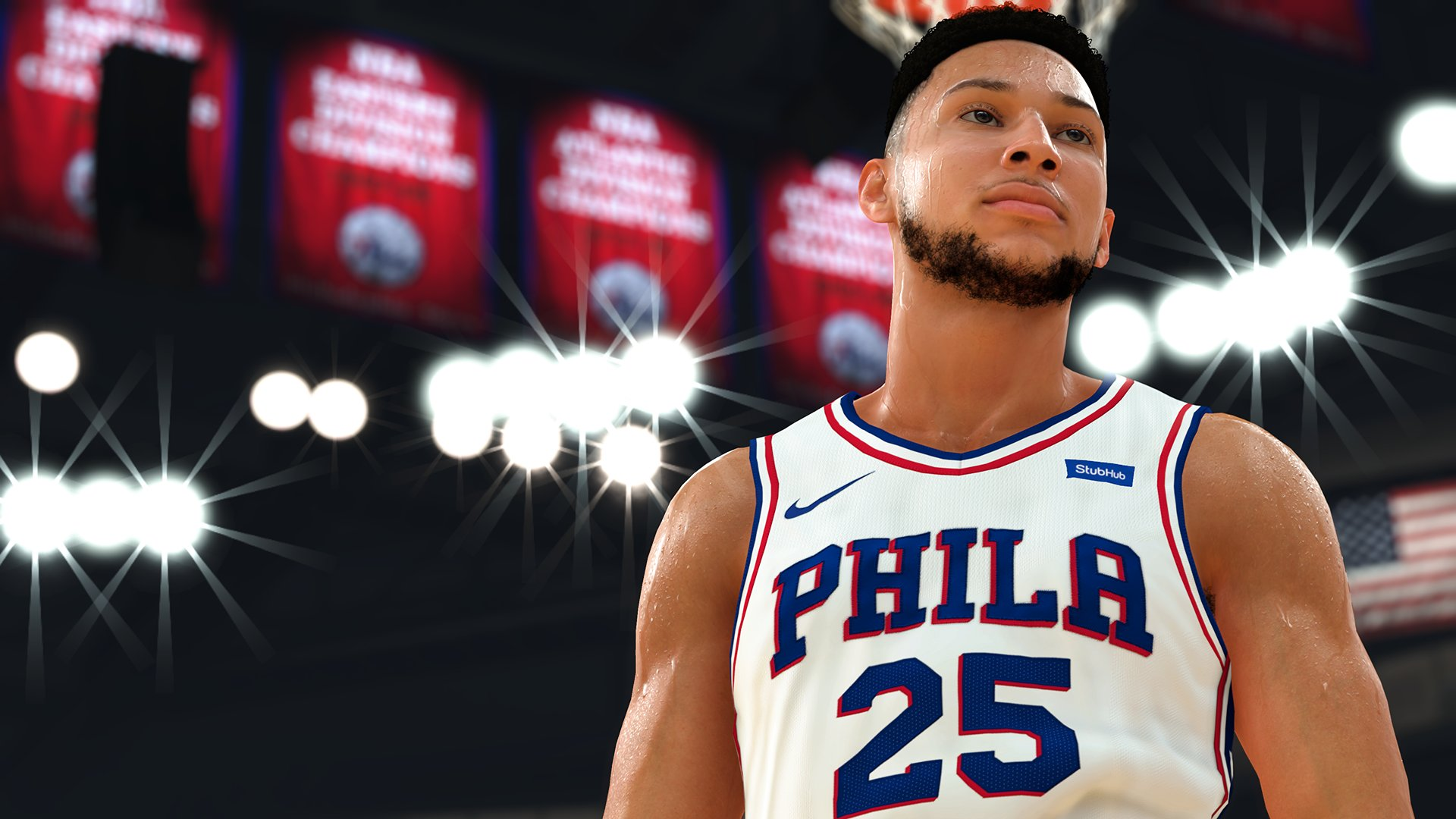 Close up of NBA 2K19 player