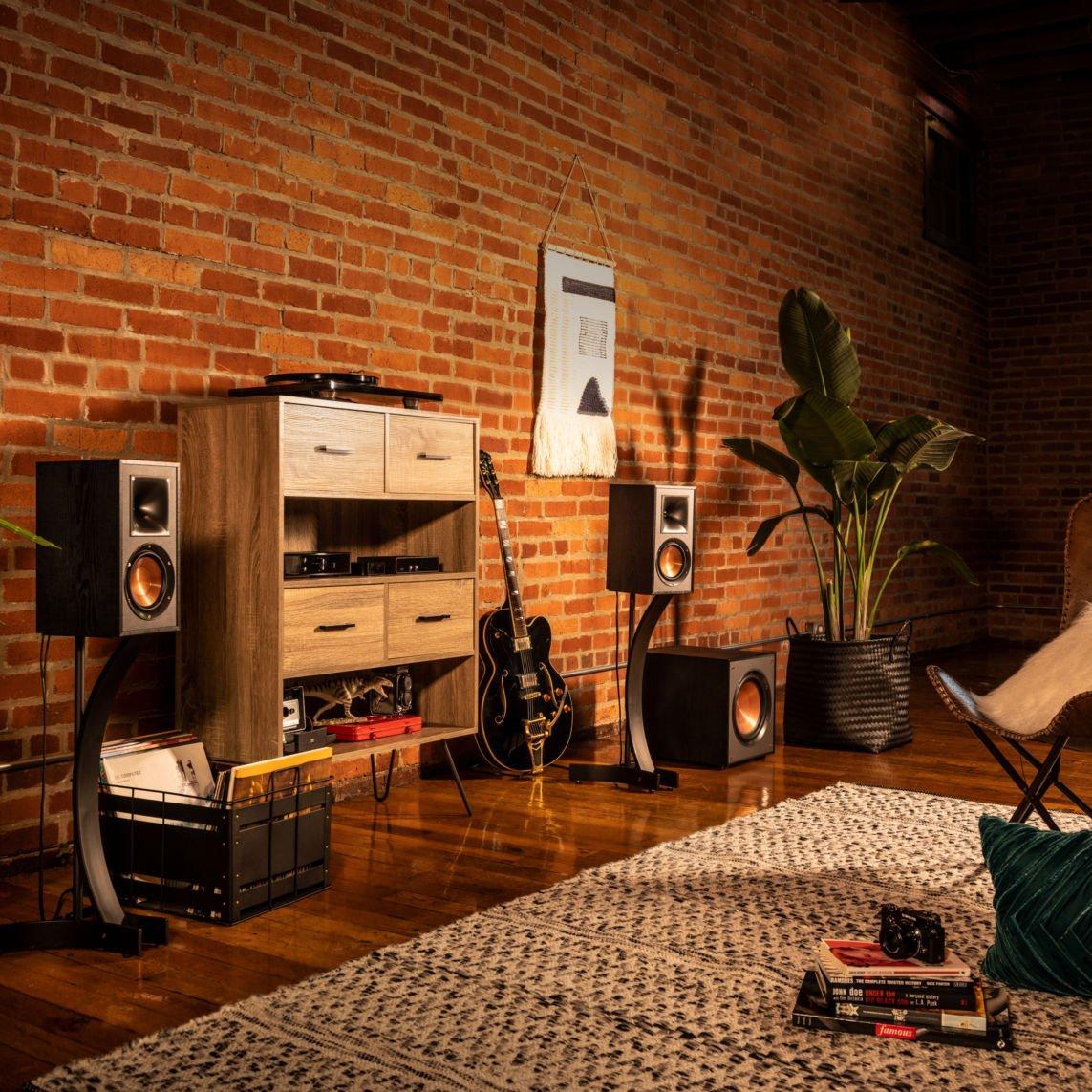 Living room with Klipsch speakers