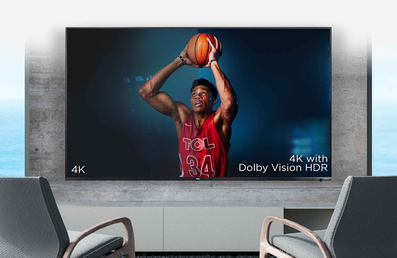 basketball player on tv with hd comparison