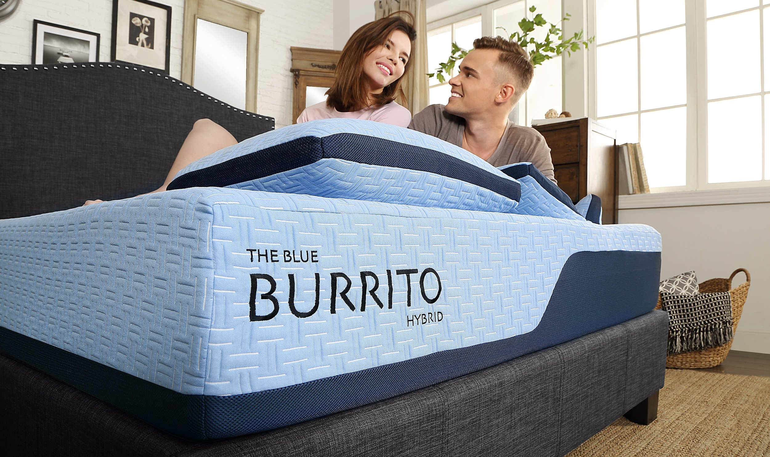 The Blue Burrito Mattress on Bed