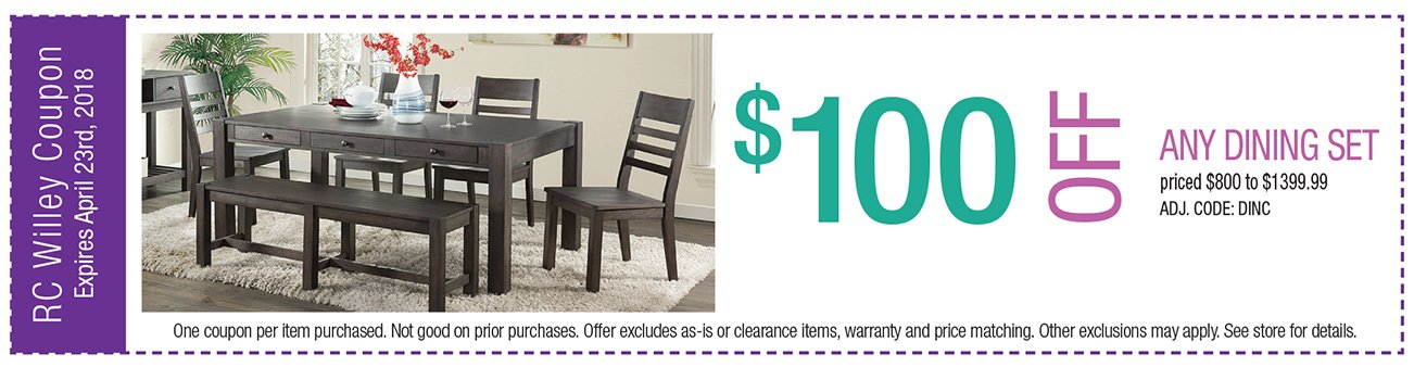 $100 off any Dining Set $800 to $1399.99