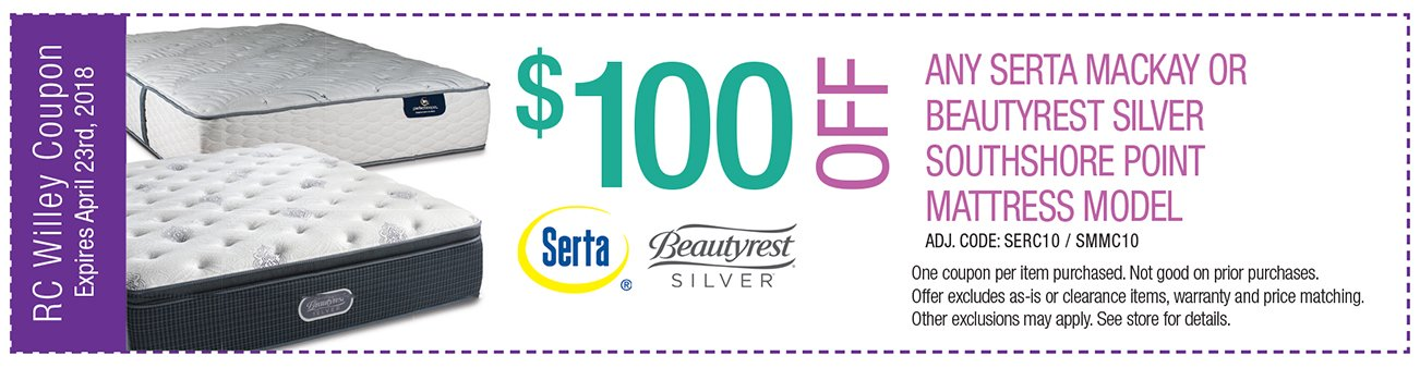 $100 off any Serta MacKay or Beautyrest SIlver Southshore Point Mattress Model