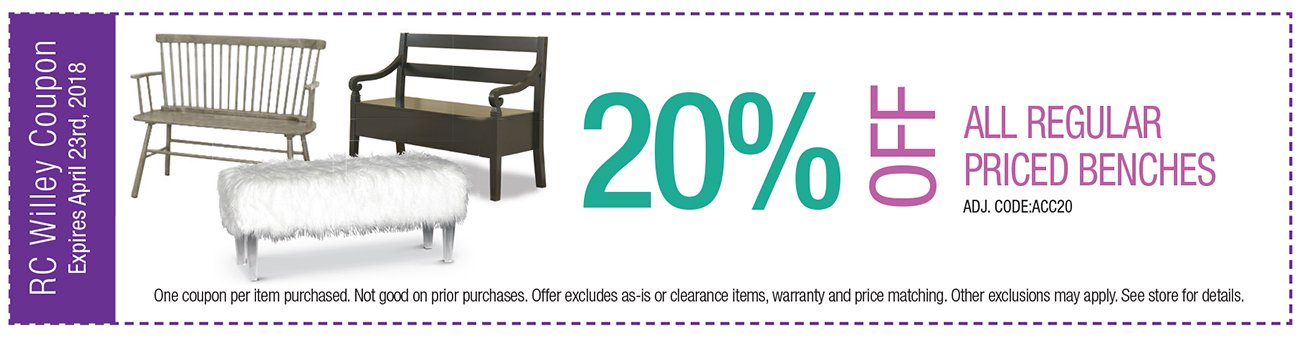 20% off Benches