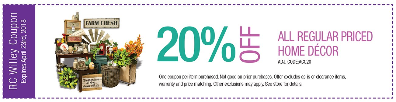 20% off regular priced home decor