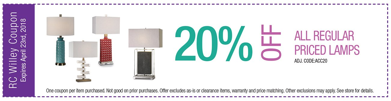 20% off lamps