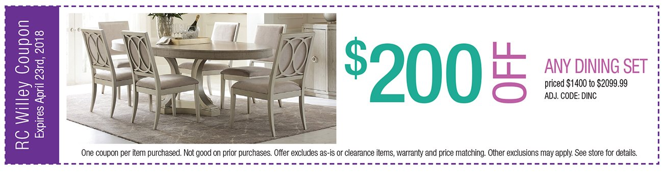 $200 off any Dining Set $1400 to $2099.99