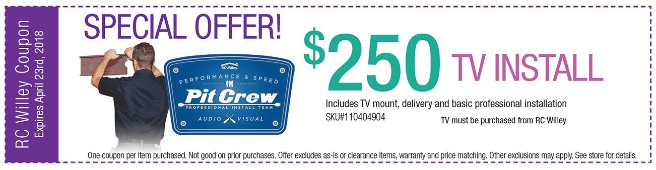 $259 TV install Coupon includes TV mount, delivery and basic professional installation
