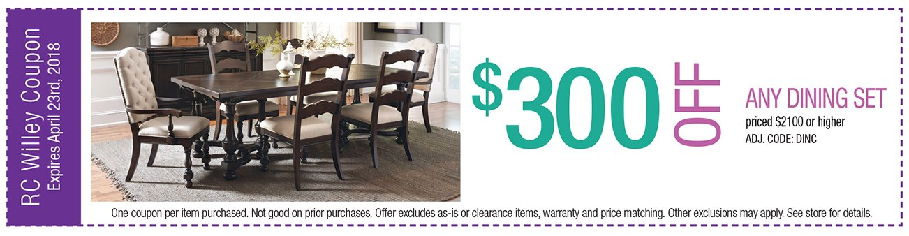$300 off any Dining Set $2100 or higher