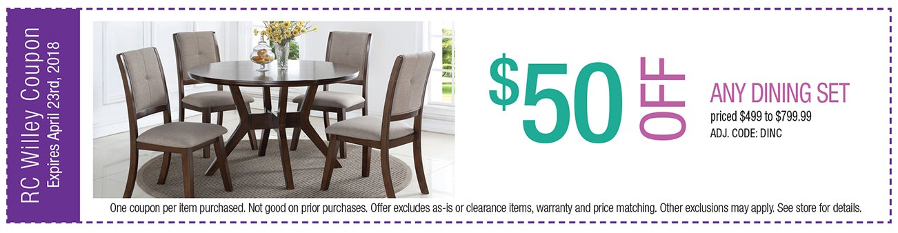 $50 off any Dining Set $499 to $799.99