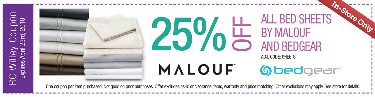25% off All Malouf or Bedgear Bed Sheets