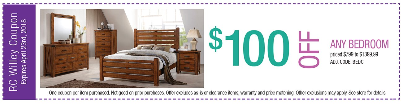 $100 off any Bedroom $799 to $1399.99