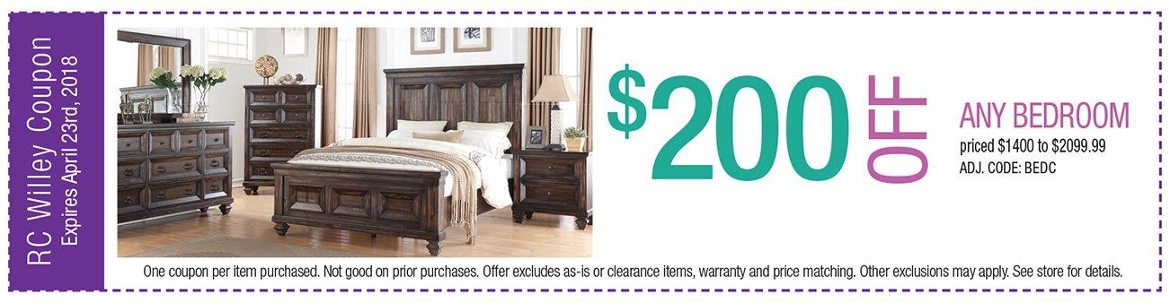 $200 off any Bedroom $1400 to $2099.99