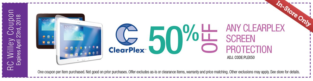 50% off any Clearplex Screen Protection