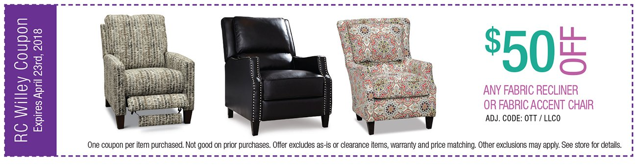 $50 off any fabric recliner or accent chair